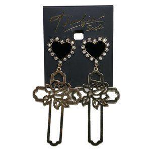 Thalia Sodi Black Heart Gold Rose Cross Earrings